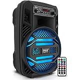 "Portable Bluetooth PA Speaker System - 300W Rechargeable Outdoor Bluetooth Speaker Portable PA System w/ 8"" Subwoofer 1"" Twee"