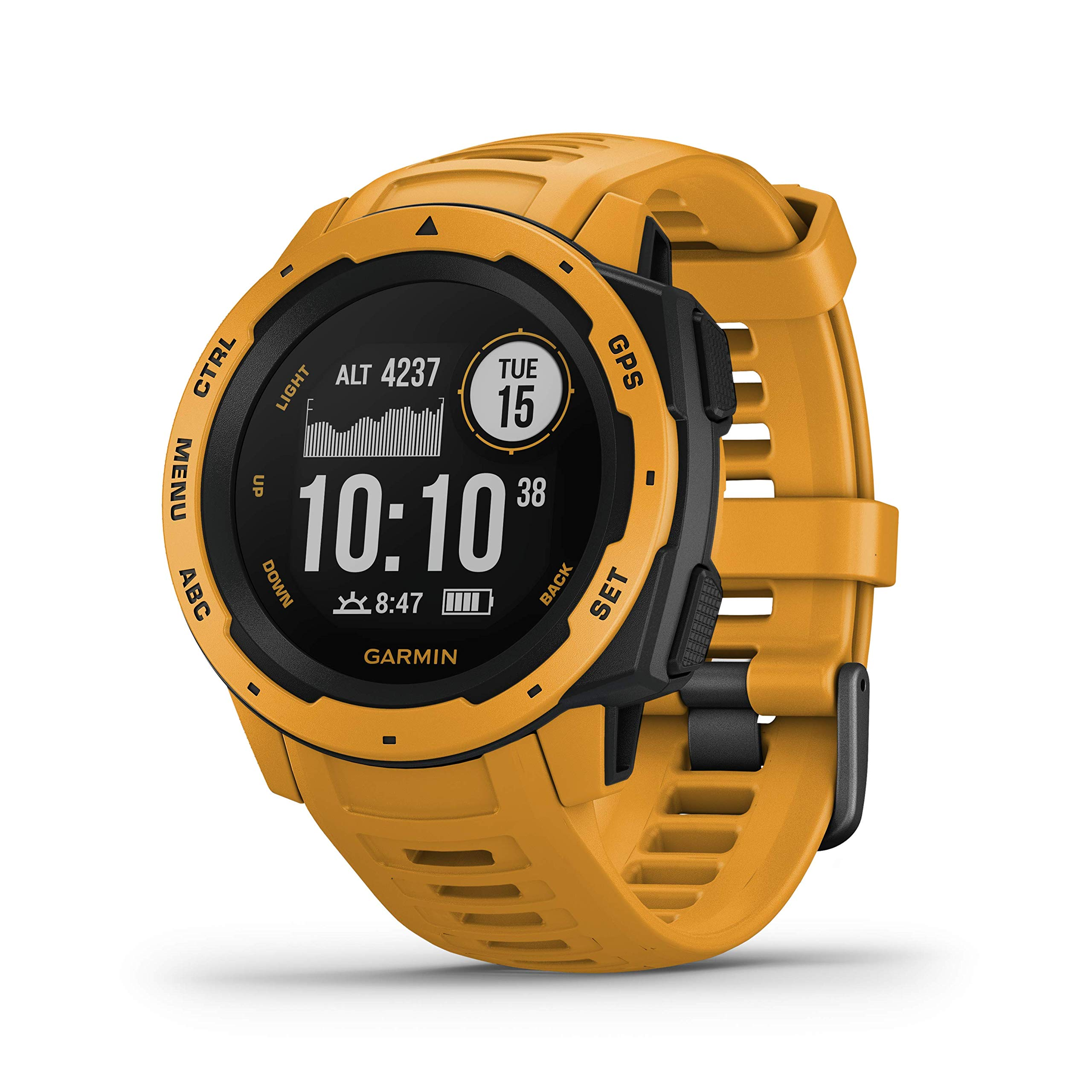 Garmin Instinct, Rugged Outdoor Watch with GPS, Features GLONASS and Galileo, Heart Rate Monitoring and 3-axis Compass, Sunburst Yellow by Garmin