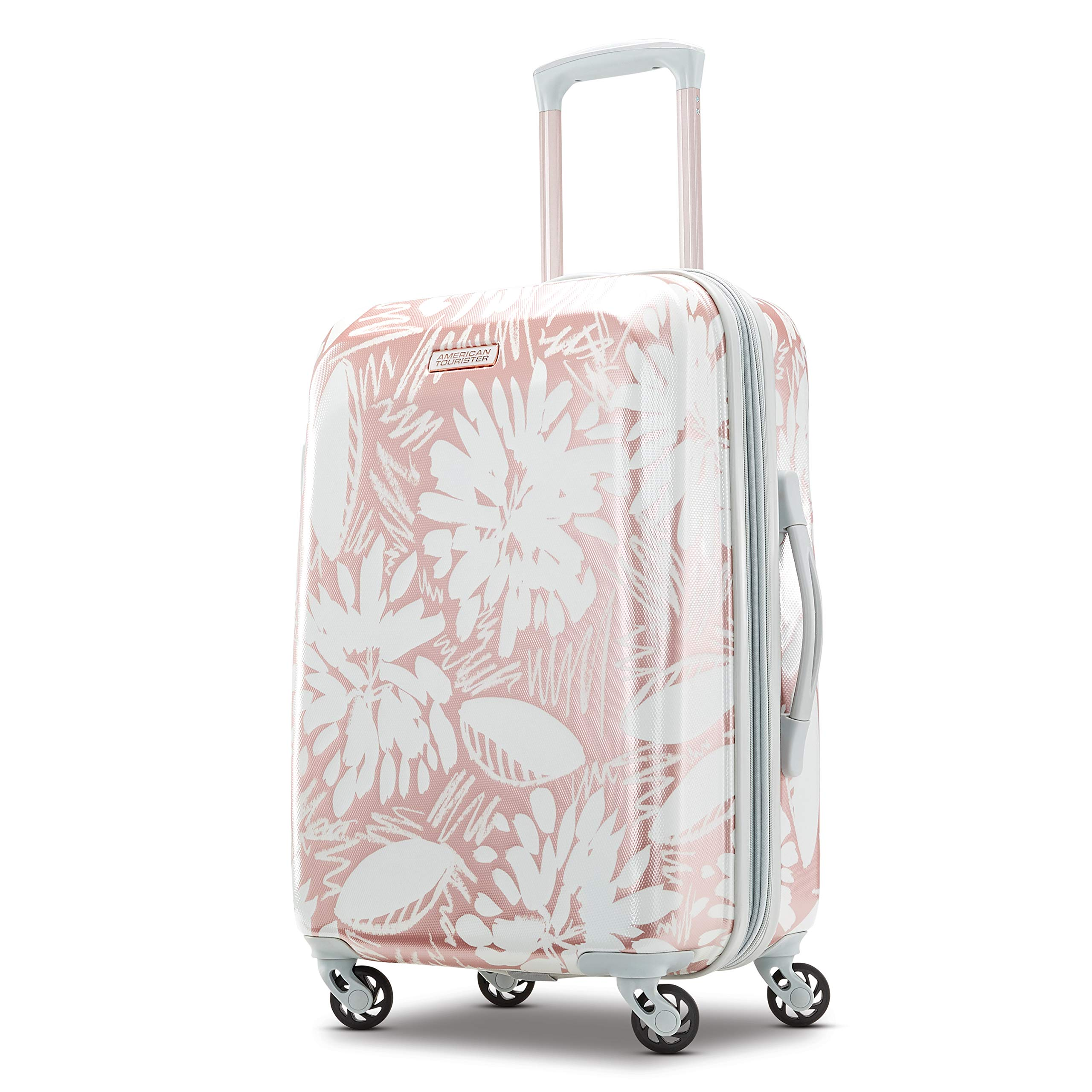 American Tourister Moonlight Hardside Expandable Carry On Luggage with Spinner Wheels, 21 Inch, Ascending Garden Rose Gold