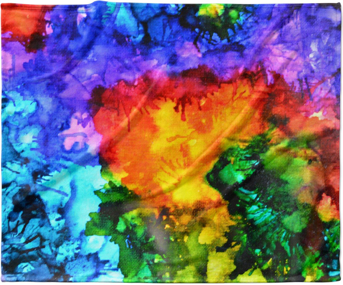 KESS InHouse Claire Day 'Karma' Rainbow Paint Fleece Baby Blanket, 40' x 30'