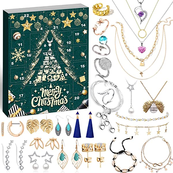 Amazon Com Movinpe Jewelry Advent Calendar For Women 2020 Christmas Fashion Bracelet Necklace Rings Earring 24 Days Countdown To Holiday Xmas Surprise Gift For Wife Daughter Mom Adult Girls Jewelry Set 2 Home
