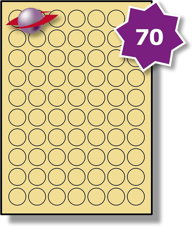 LP70//25 R LS. 10 Fogli Label Planet/® A4 Etichette in Argento Metallico Rotondo per la Stampa Laser 25mm Diametro 70 Par Foglio 700 Etichette