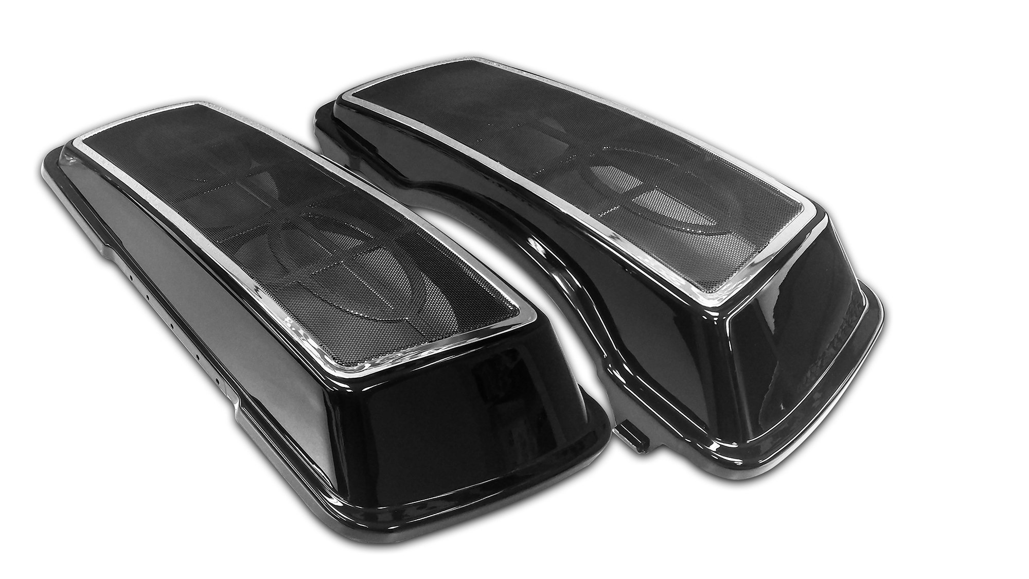 Bagger Brothers BB-HD1584-SBL Black Speaker Lid (Dual 6''x9'' with Metal Grill & Chrome Trim for 1996-2013 Harley Davidson Touring Models)