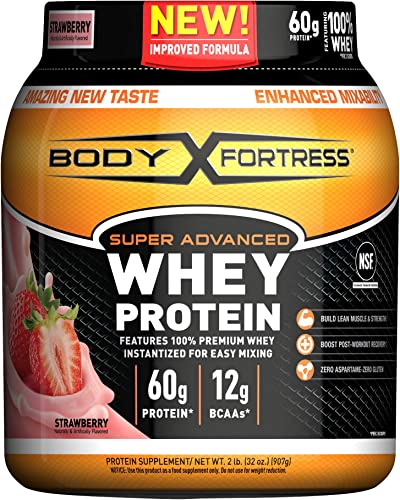 Body Fortress Super Advanced Whey Protein Powder, Gluten Free, Strawberry, 2 Pound Packaging May Vary