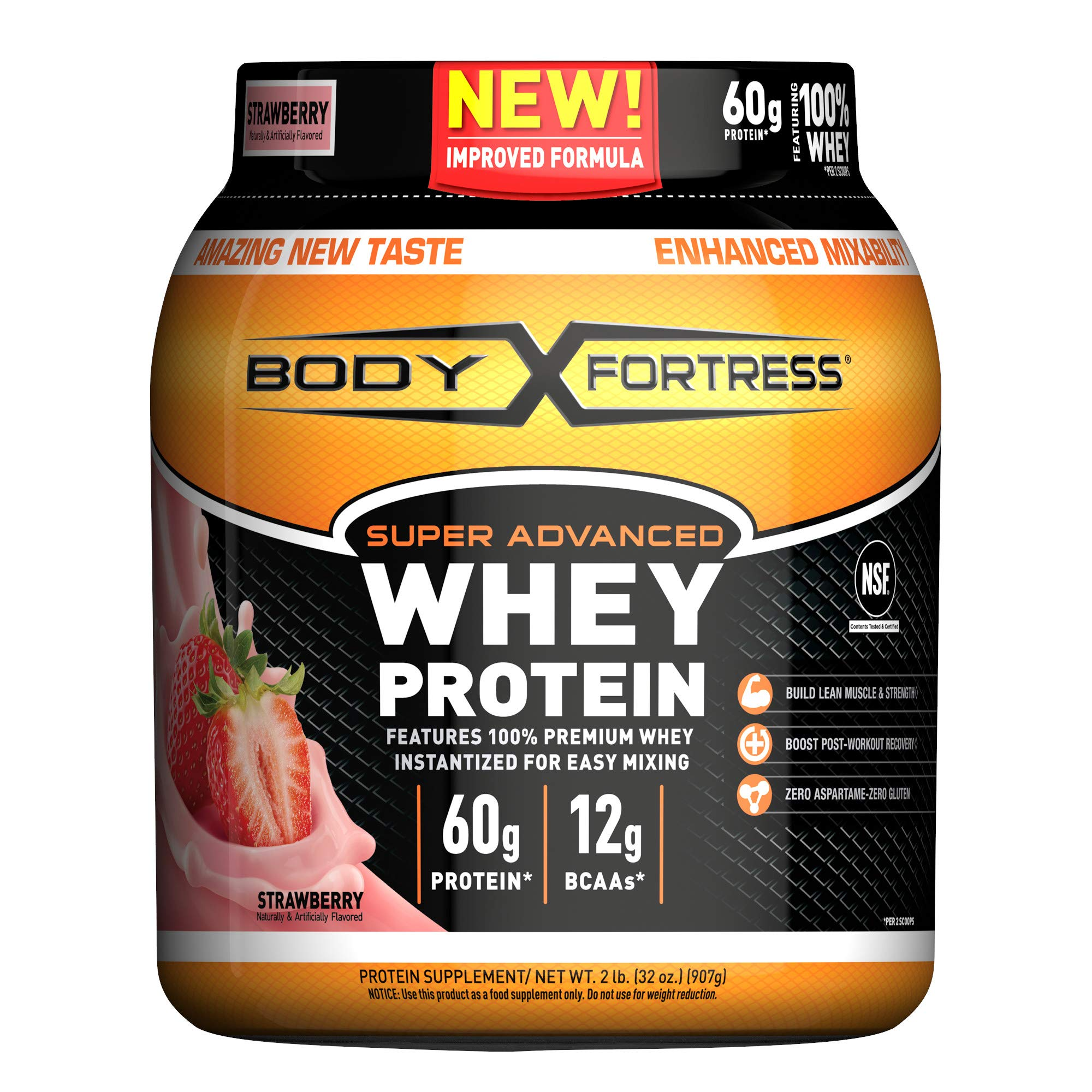 Body Fortress Super Advanced Whey Protein Powder, Gluten Free, Strawberry, 2 lbs (Packaging May Vary) by Body Fortress