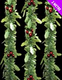 2m Lusso Chunky Natale Tinsel Garland Albero Room Home Decoration GreenHolly