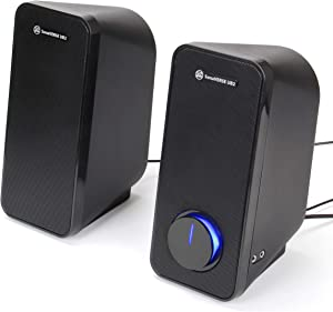 GOgroove Computer Speakers for Desktop and Laptop - USB Speakers for Desktop Computer with Loud and Clear 2-Way Drivers for 32W of Power and Bass, Built-in Headphone & AUX Input Ports, LED Volume Knob