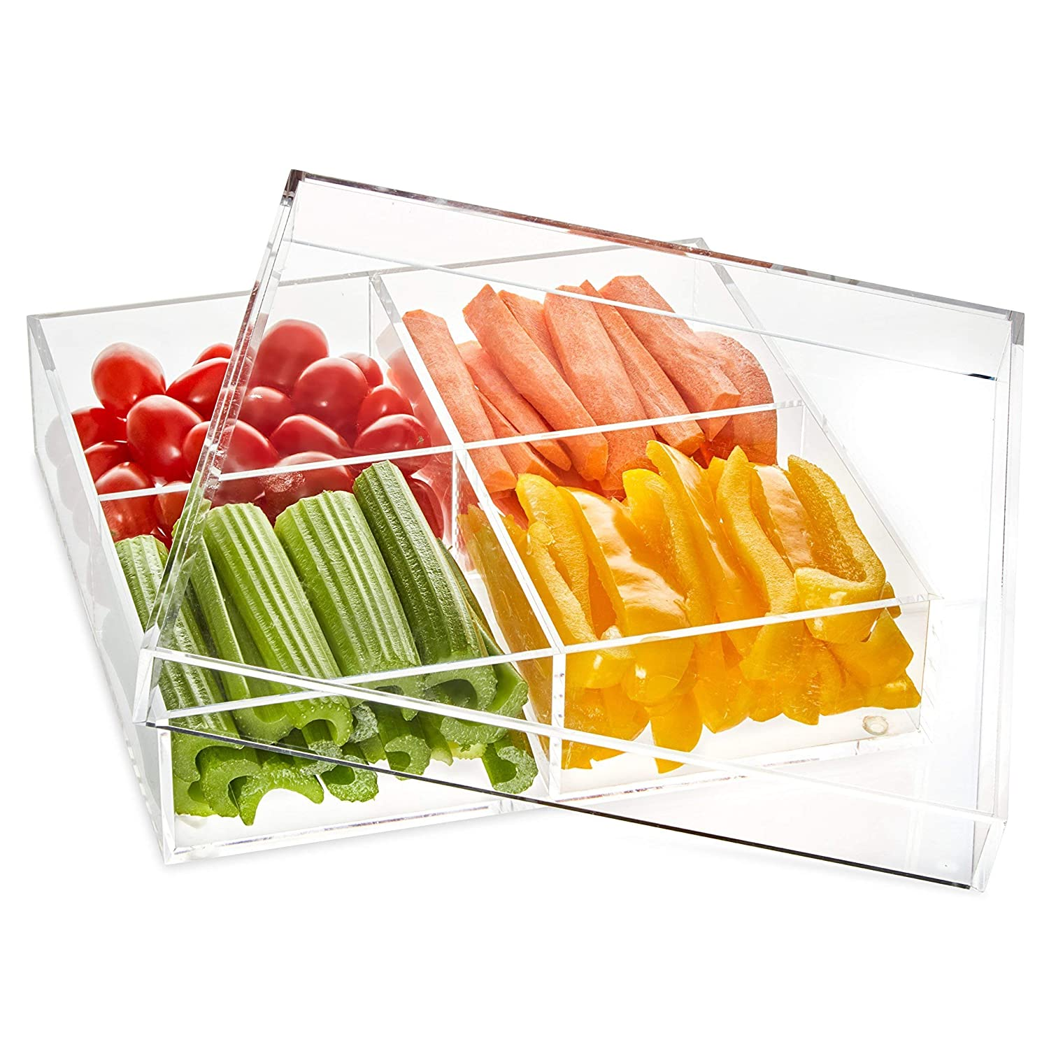 Acrylic Serving Tray With Cover- Acrylic Organizer- 4 Compartments Serving Dish- Thick High-End Acrylic Containers - Clear Multifunctional-Lid Included- BBQ Tray Lucite by Design CS992WL