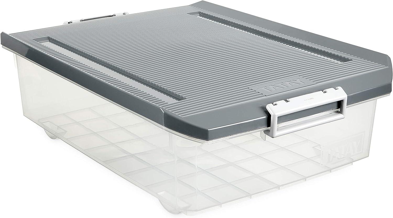 Tatay 1151222 Caja de Almacenamiento Multiusos Bajo Cama con Tapa, 32 l de Capacidad, Plástico Polipropileno Libre de BPA, Transparente con Tapa Gris, 40 x 56 x 17,5 cm