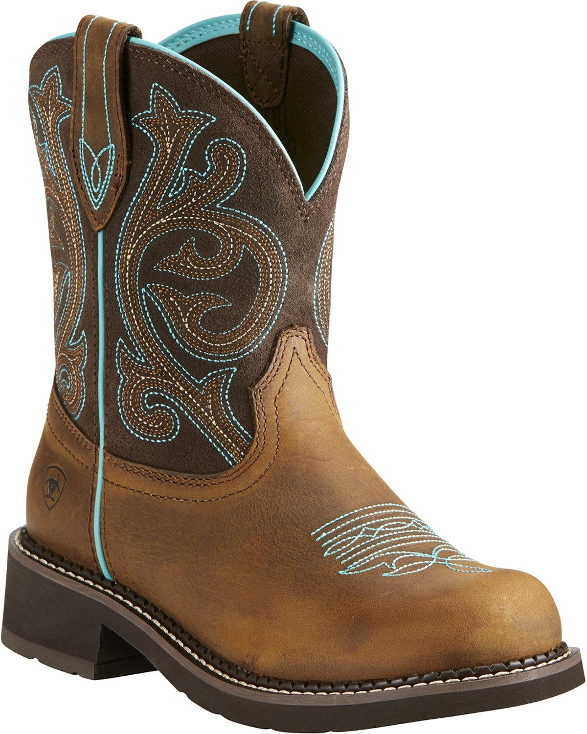 Ariat Women's Fatbaby Collection Western Cowboy Boot, Distressed Brown/Fudge, 8.5 B US