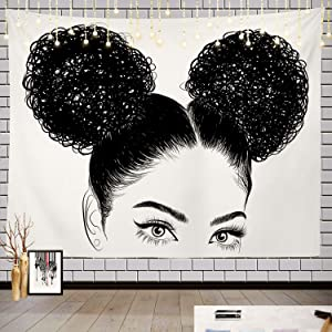 Batmerry Black Woman Afro American Tapestry, Black Woman with Shirt Graphic Tee Visit Hair Afro Girl Picnic Mat Hippie Trippy Tapestry Wall Art Decor for Bedroom Living Room, 59.1 x 82.7 Inches, Black