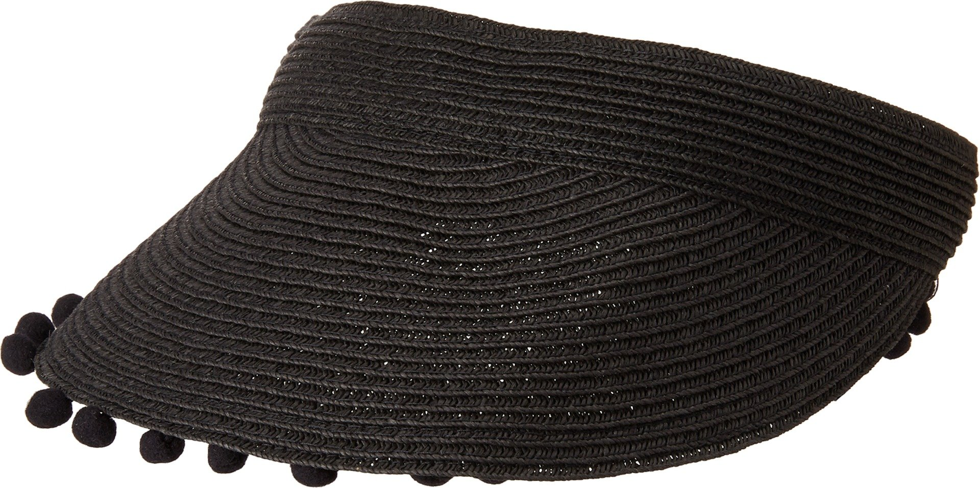 San Diego Hat Company Women's UBV045 Visor with Matching Color Pom and Adjustable Back Black One Size
