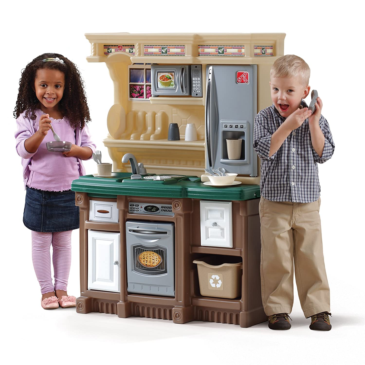 amazon com step2 lifestyle custom kitchen ii brown tan green toys rh amazon com  step 2 kids kitchen sets