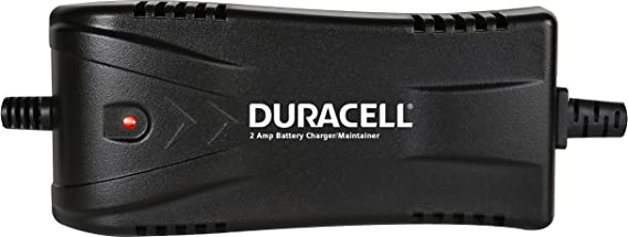 DURACELL DRBM2A 2 Amp Battery Charger Maintainer 3 Stage Float Charge Ideal for 12 Volt 12V Lead Acid SLA batteries for Cars, Motorcycles, Marine