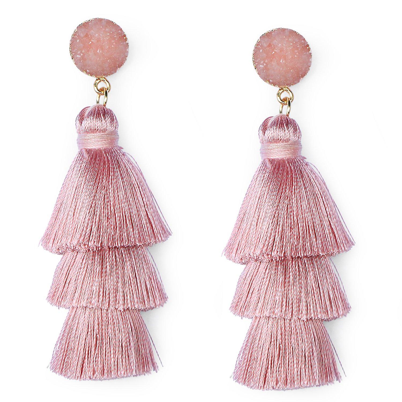 Me&Hz Blush Pink Tiered Tassel Dangle Earrings Statement Summer Earrings Drop Layered Tassel Earrings for Women Girls