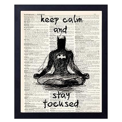 akeke Super Heros Batman Funny Yoga Meditation Wall Vintage Book Art Prints  8x10 Unframed, Great Superhero Batman Fans Motivational Gift (batman2)
