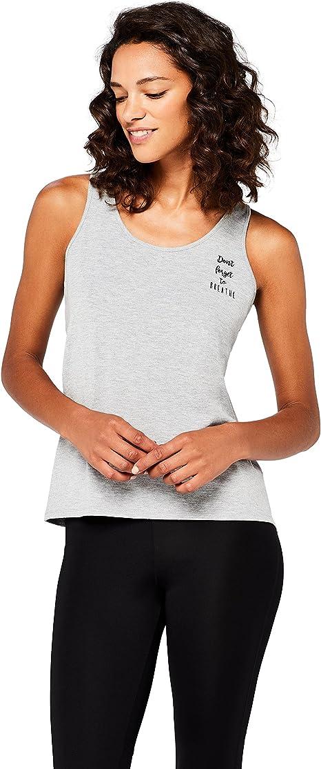 Marca Amazon - AURIQUE Camiseta Yoga con Eslogan y Abertura en la Espalda Mujer