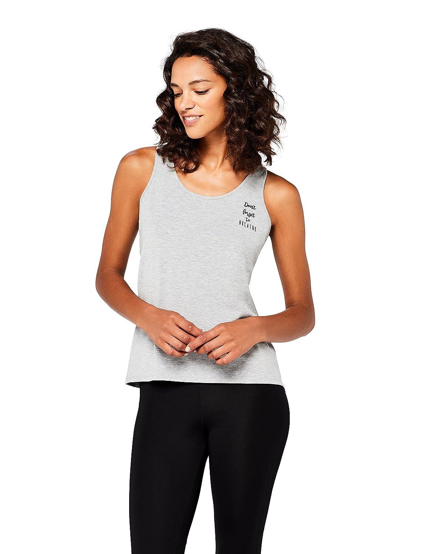 TALLA 40 (Talla del Fabricante: Medium). AURIQUE Camiseta Yoga con Eslogan y Abertura en la Espalda Mujer