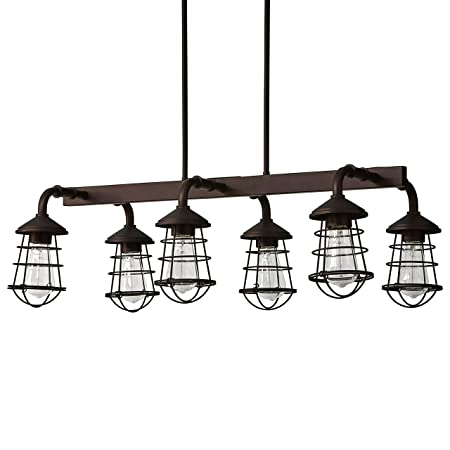 Stone Beam Vintage Farmhouse Lantern Ceiling Chandelier Fixture With 6 Light Bulbs – 33.25 x 17.75 x 19.75 Inches, 6 – 48 Inch Cord, Oil Rubbed Bronze