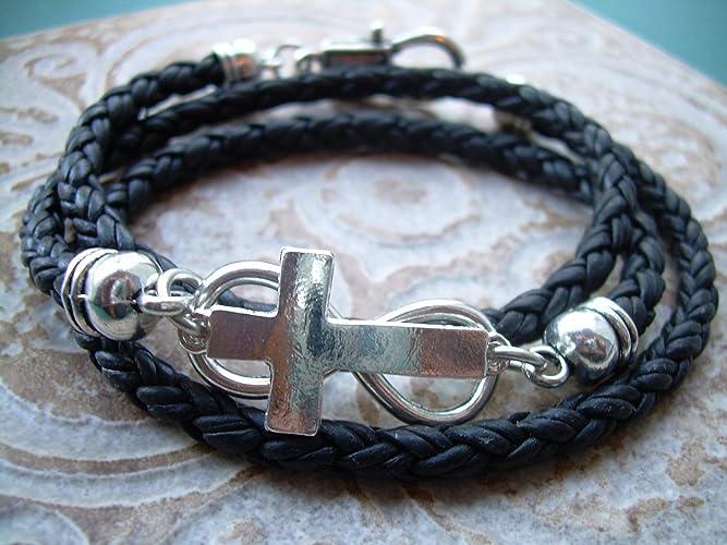 Amazon Com Triple Wrap Braided Leather Infinity Cross Bracelet