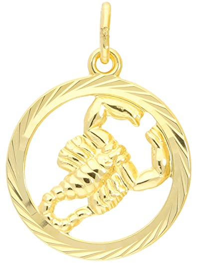 Zodiac Sign Aquarius Gold 585 Pendant 14 Carat Pendant Yellow Gold