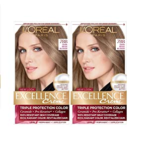 L'Oreal Paris Excellence Creme Permanent Hair Color, 7BB Dark Beige Blonde, 100% Gray Coverage Hair Dye, Pack of 2