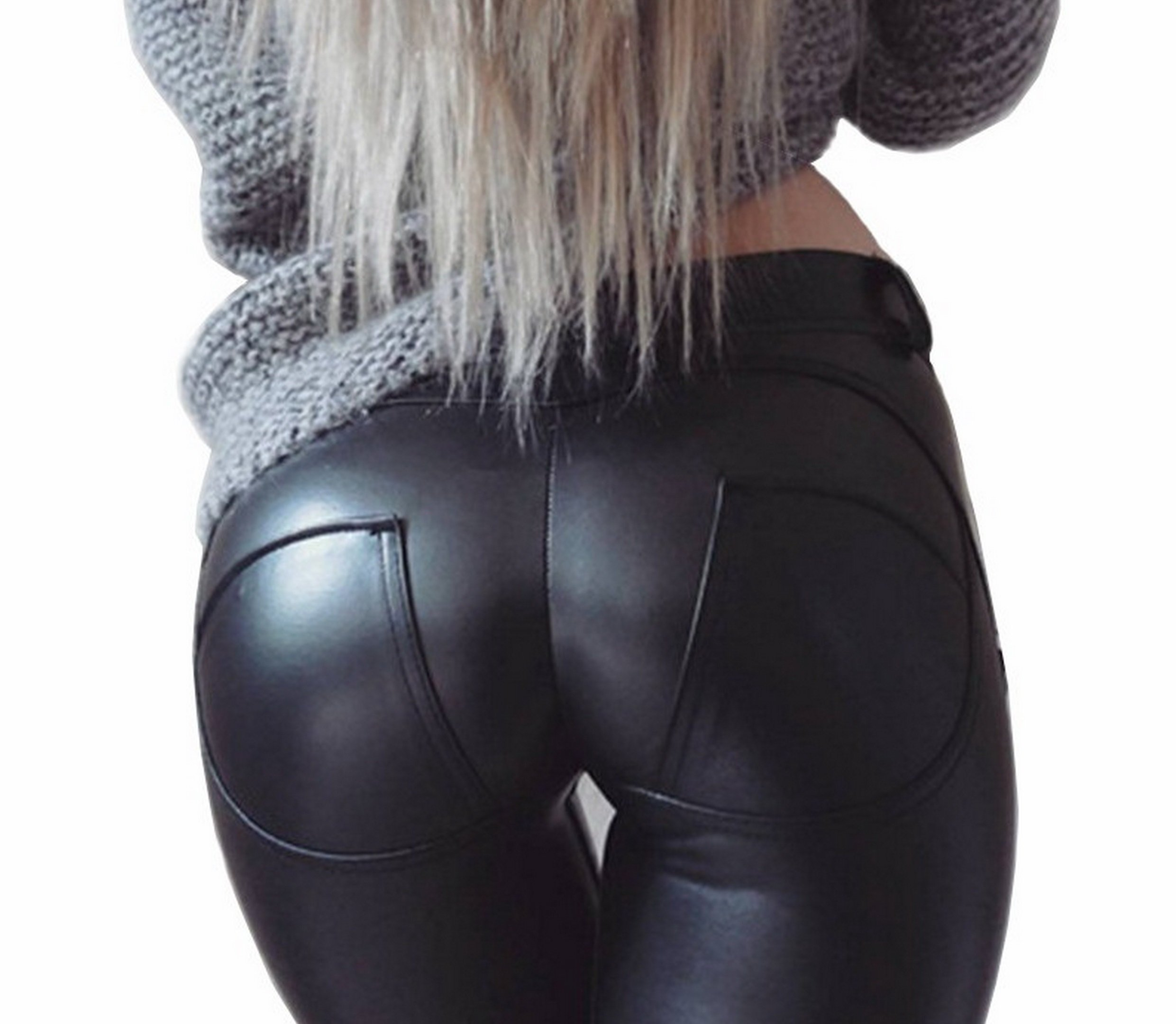 Faux Leather PU Elastic Shaping Hip Push Up Pants Black Sexy Leggings for Women ((Size 0-2) Small) by DALLNS