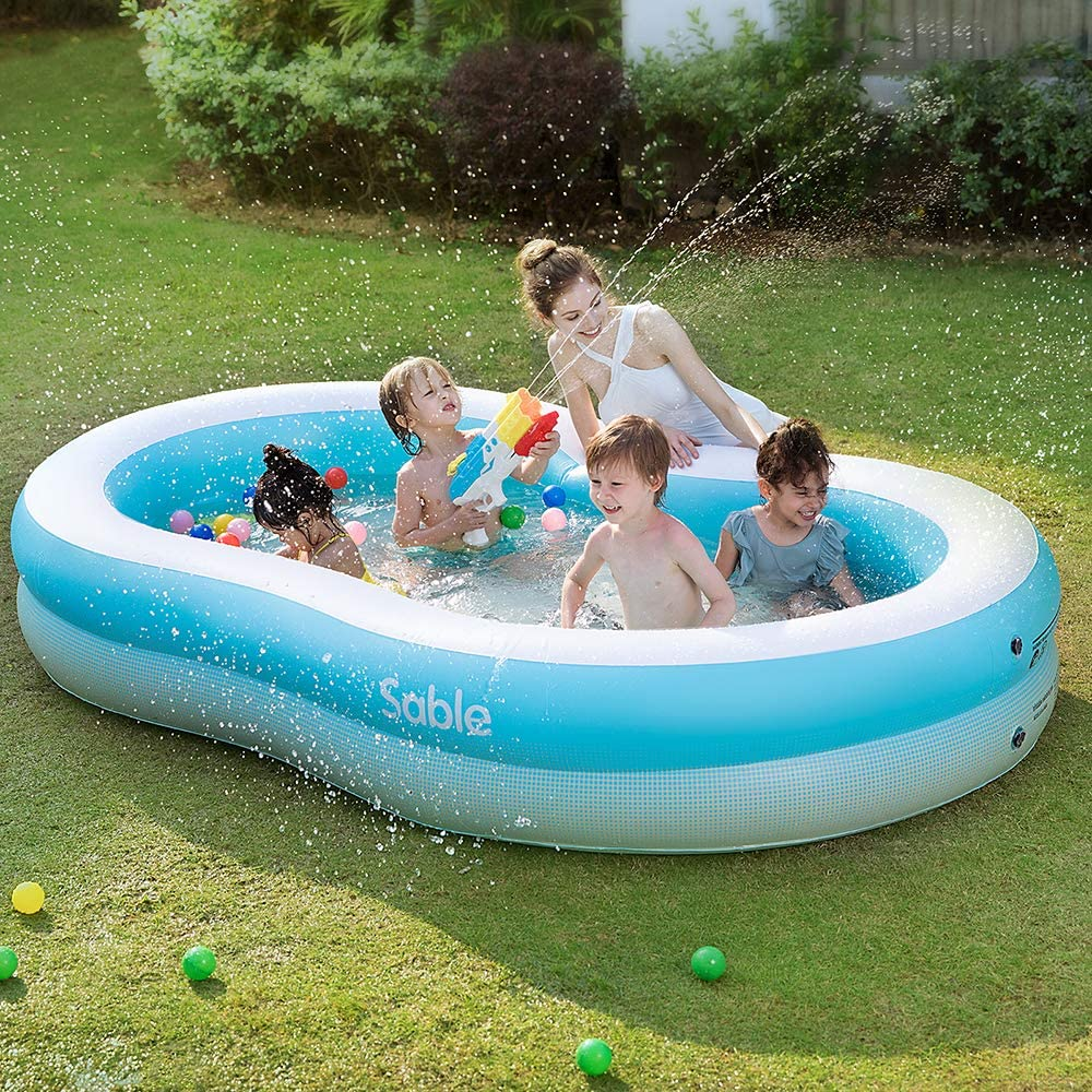 Sable Inflatable Pool, Swimming Family Size Kiddie Blow Up Pool, 103 x 63 x 18 in, Easy Set Up, for Ages 3+