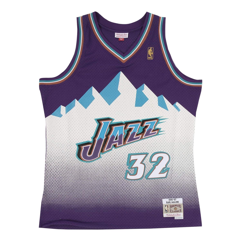 Mitchell & Ness Karl Malone # 32 Utah Jazz 1996 - 97 Swingman NBA Camiseta Lila, XX-Large: Amazon.es: Deportes y aire libre