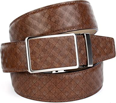 Anthoni Crown Leather Men`s Belt Brown 36-48 with Silver Metallic Automatic Buckle//17sq40