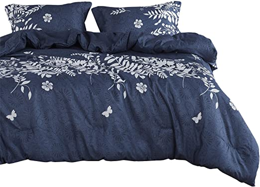 Amazon Com Wake In Cloud Navy Blue Duvet Cover Set Gray Grey