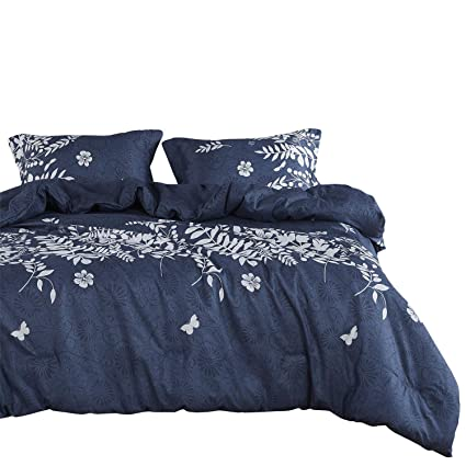 fc0559e7d Image Unavailable. Image not available for. Color: Wake In Cloud - Navy  Blue Comforter Set, Gray Floral ...