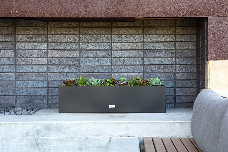 TRHV36G Veradek Metallic Series Galvanized Steel Rectangular Window Box Planter 9-Inch Height by 9-Inch Width by 36-Inch Length Gray