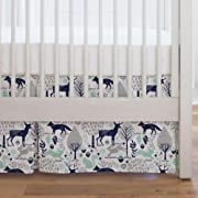 Carousel Designs Navy and Mint Woodland Animals Crib Skirt Single-Pleat 17-Inch Length - Organic 100% Cotton Crib Skirt - Made in The USA