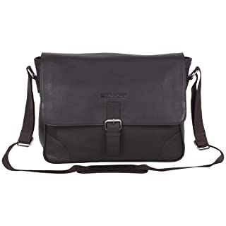 """Ben Sherman Karino Leather 15"""" Laptop & Tablet Crossbody Travel Messenger Bag (RFID) Laptop, Brown, One Size"""
