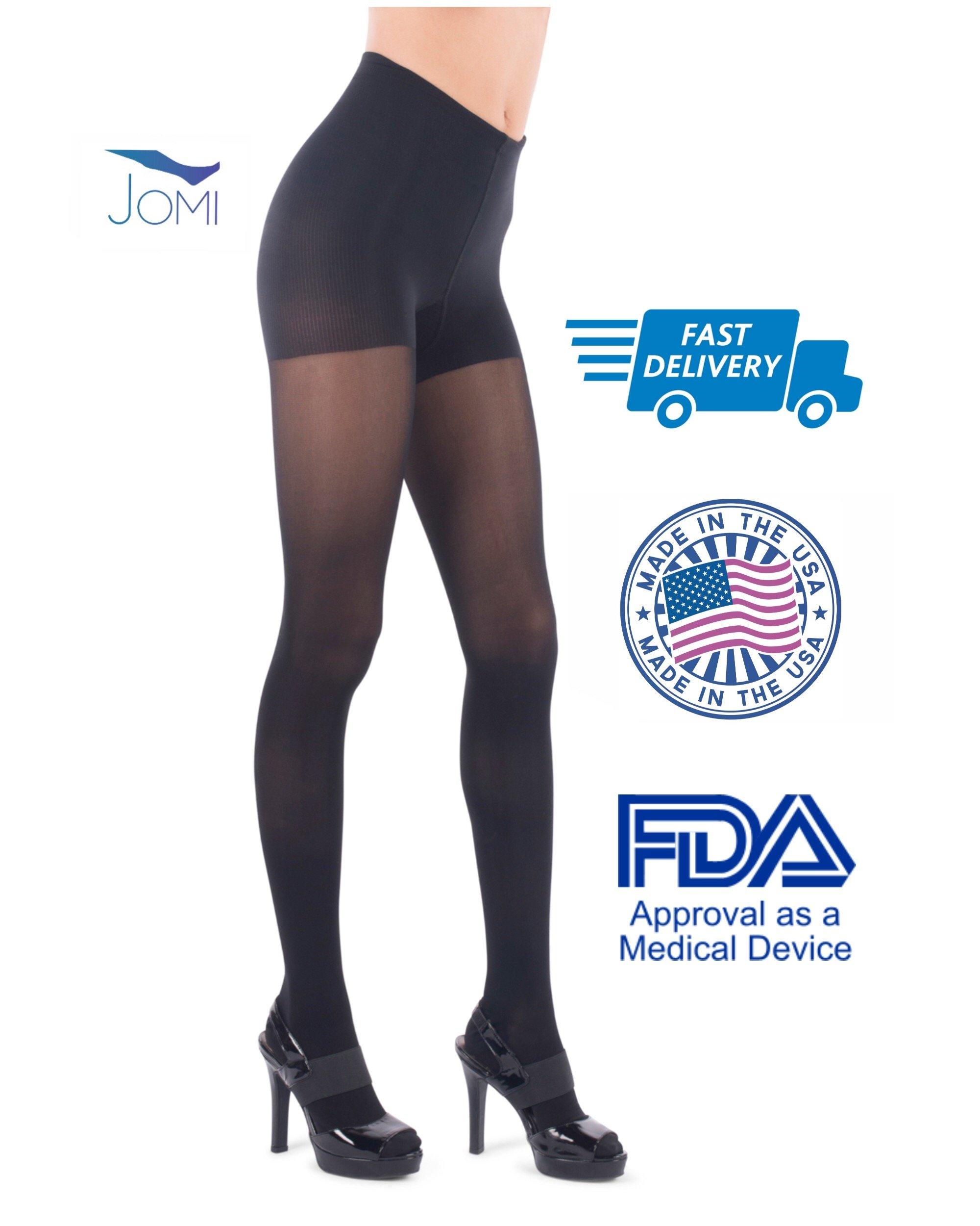 Jomi Compression Pantyhose Women Collection, 20-30mmHg Sheer Closed Toe 276 (Medium, Black)