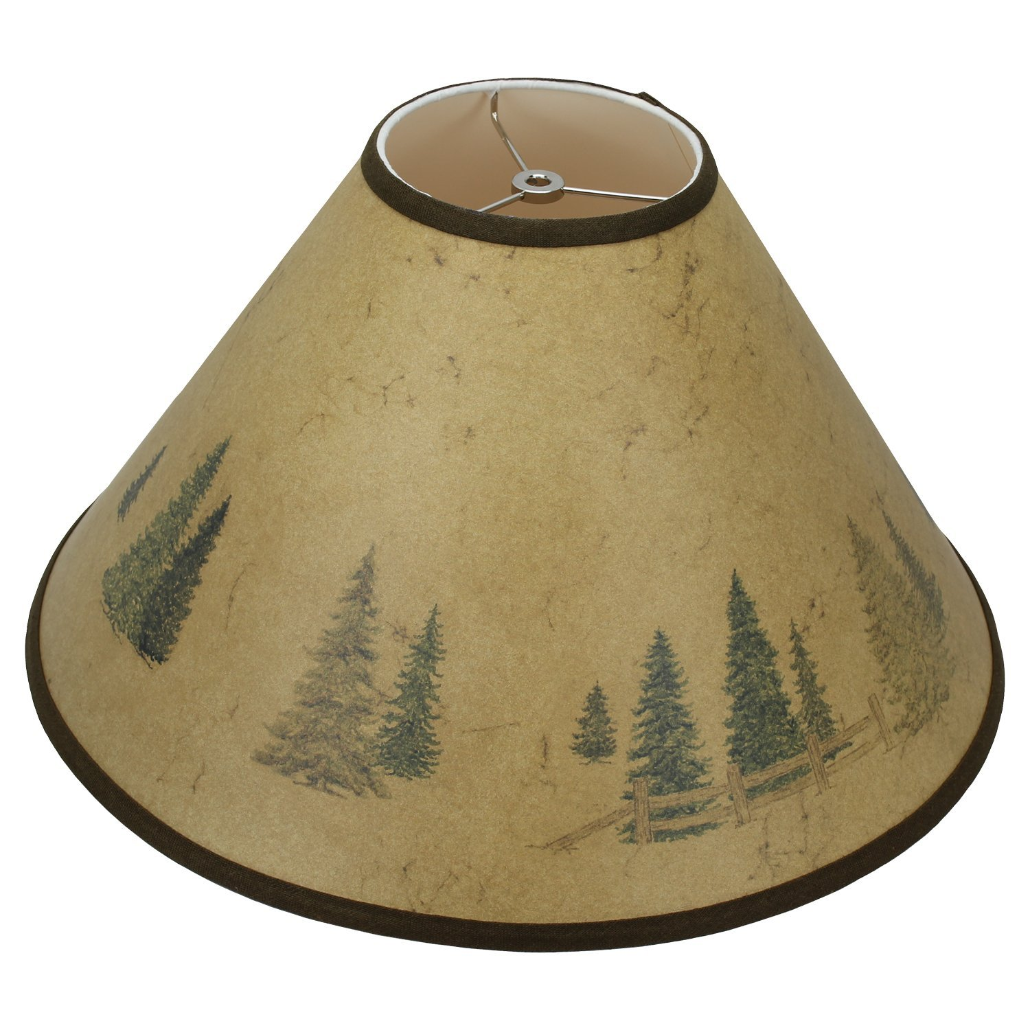 FenchelShades.com 6'' Top Diameter x 19.5'' Bottom Diameter x 12.5'' Slant Height Paper Barrel Lampshade Spider Attachment (In The Woods)