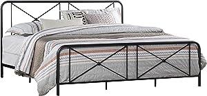 Hillsdale Furniture King Metal Bed with Double X Design Platform, Black