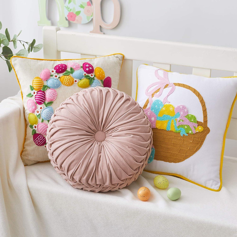 "Vintage Round 14.5"" Pintuck Throw Pillows Light Gray Color"