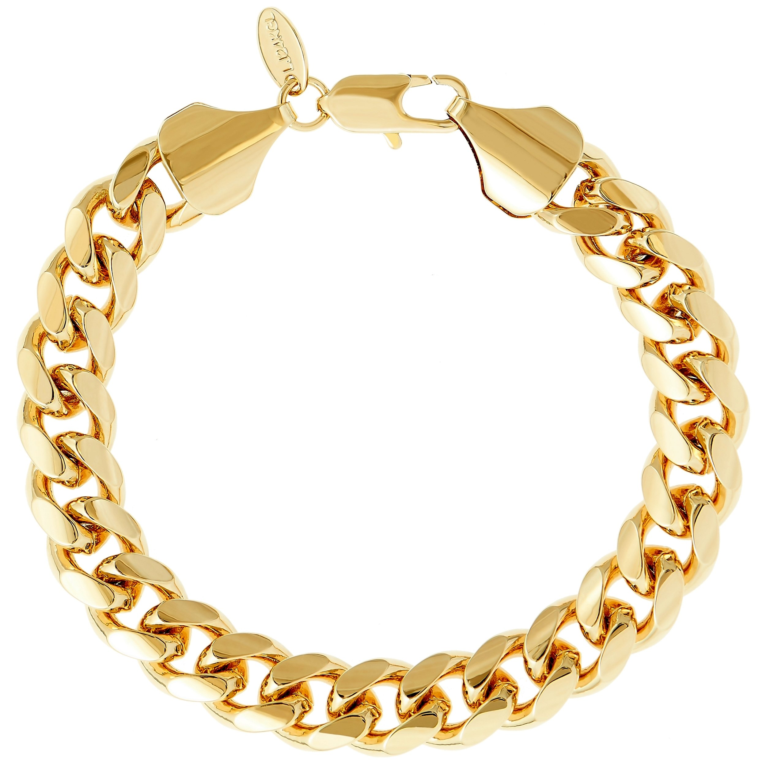 Lifetime Jewelry Cuban Link Bracelet 11MM, Round, 24K Gold Overlay Premium Fashion Jewelry, Guaranteed Life, 8 inches by Lifetime Jewelry (Image #6)