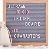 Felt Letter Board Gray 10x10 Inches with Stand, 510 PCS Changeable Letters & Lovely Emojis, Solid Oak Wood Material, Decorative Display Board Designed with Metal Hook on The Wall (Grey)