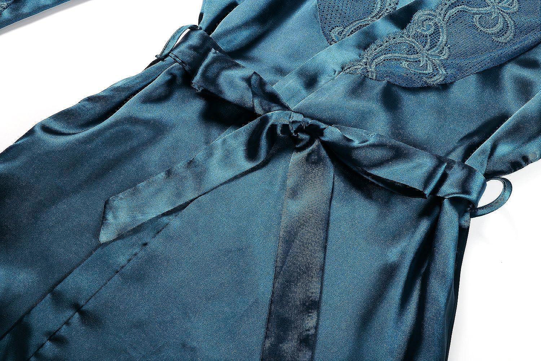 baedc3f7736 BellisMira Peignoir Satin Femme Robe de Chambre Kimono Femmes Sortie de Bain  Nuisette Déshabillé Couleur Pure ...