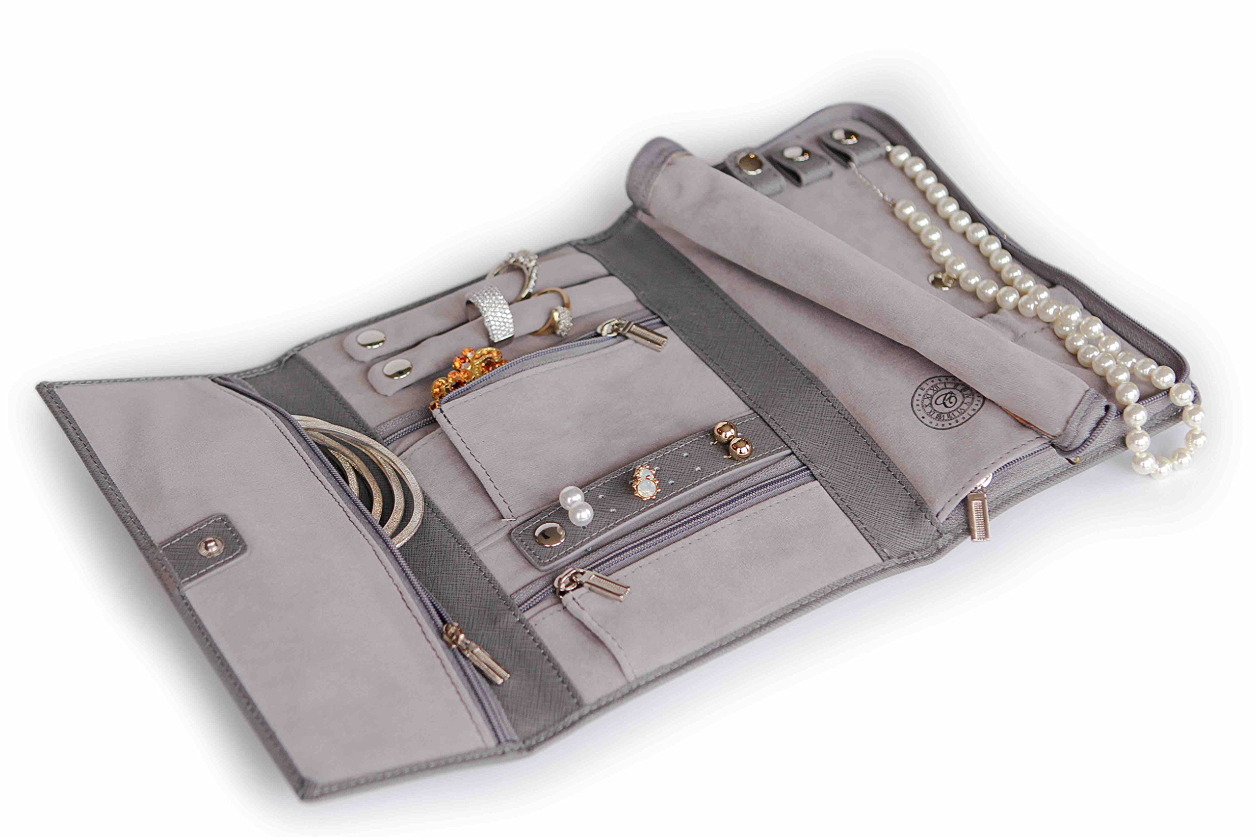 Saffiano Leather Travel Jewelry Case - Jewelry Organizer [Petite] by Case Elegance by case Elegance (Image #6)