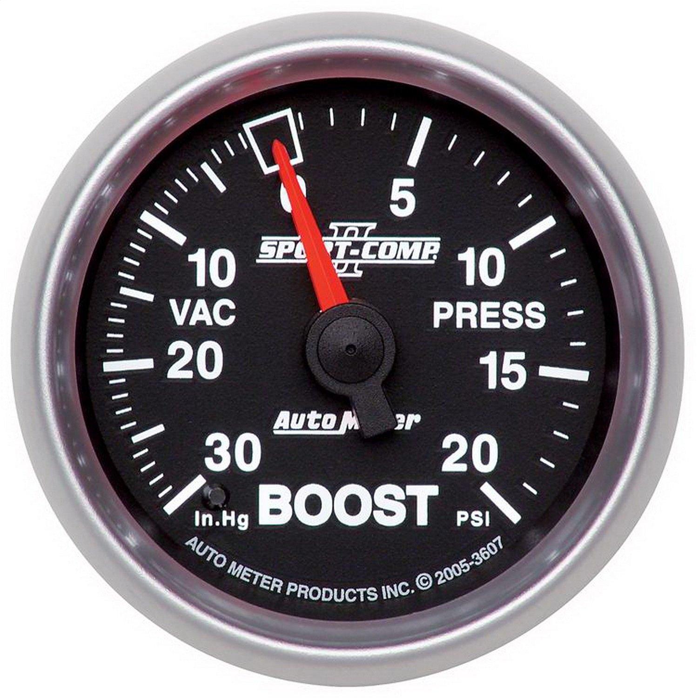 Auto Meter 3607 Sport-Comp II 2-1/16'' 30 in. Hg/20 PSI Mechanical Vacuum/Boost Gauge