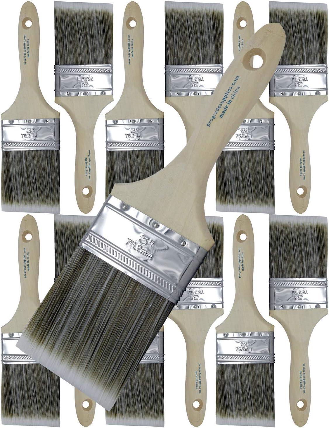 Pro Grade - Paint Brushes - 12 Ea 3 Inch Flat Brushes