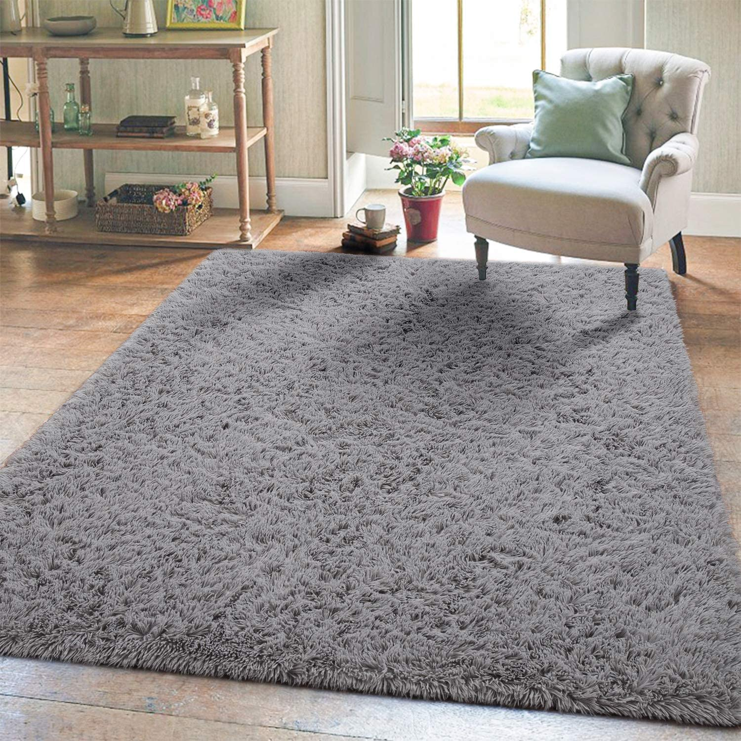 Amazon Com Super Soft Kids Girls Room Nursery Rug 4 X 6 Gray Area Rugs For Boys Bedroom Home Decor Living Room Floor Carpets Fluffy Fur Mat By Varycarry Kitchen Dining