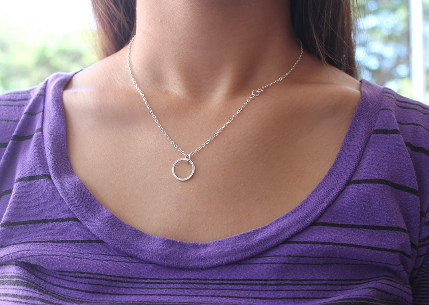 Estate Sterling Silver Infinity Circle of Life Eternity Pendant Necklace