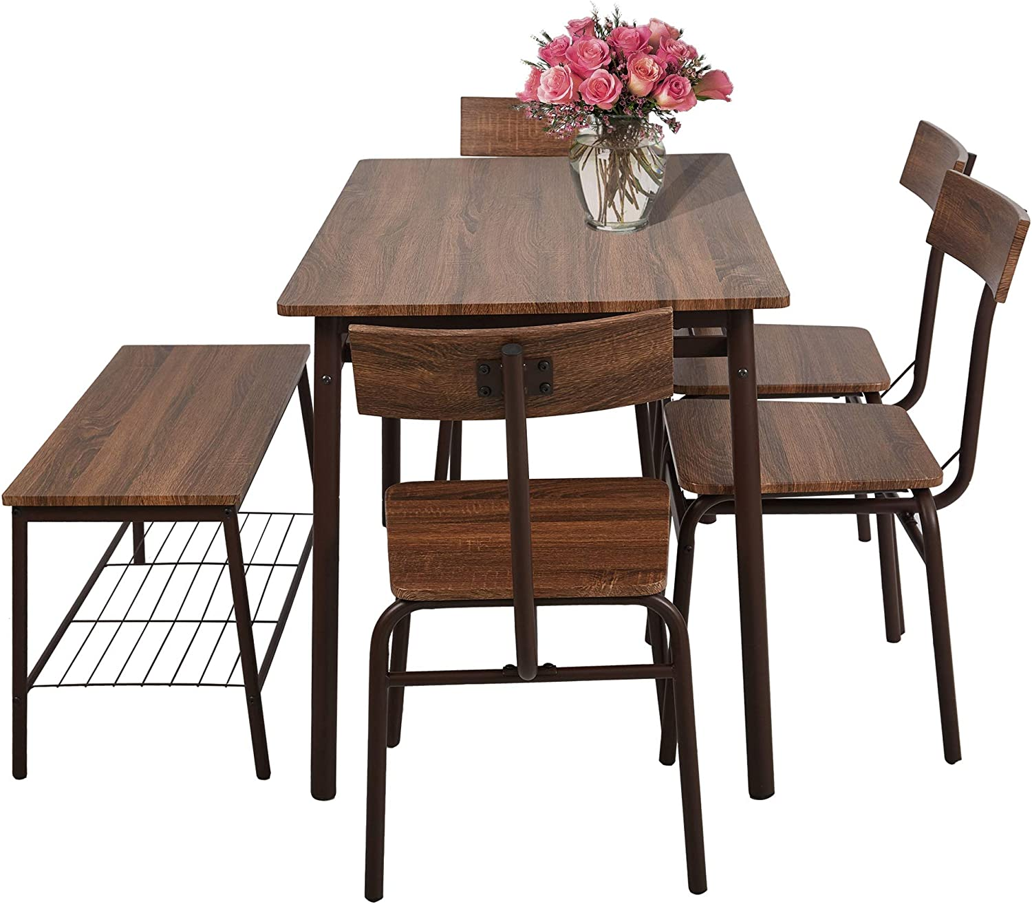 Amazon Com Luckyermore 6 Piece Dining Room Table Set With Bench Compact Wooden Kitchen Table And 5 Chairs With Metal Legs Dinette Sets Table Chair Sets