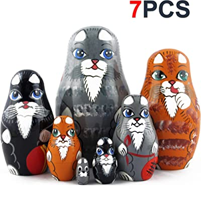 Cat Matryoshka Nesting Dolls - Cat Kitty Figures Doll - Kitten Toys Doll - Toy Cats Set 7 pieces: Toys & Games