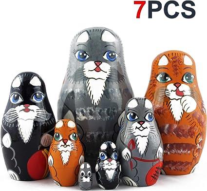Wooden Russian Hand Painted Stacking Doll Cats Matryoshka Nesting Dolls 5pcs